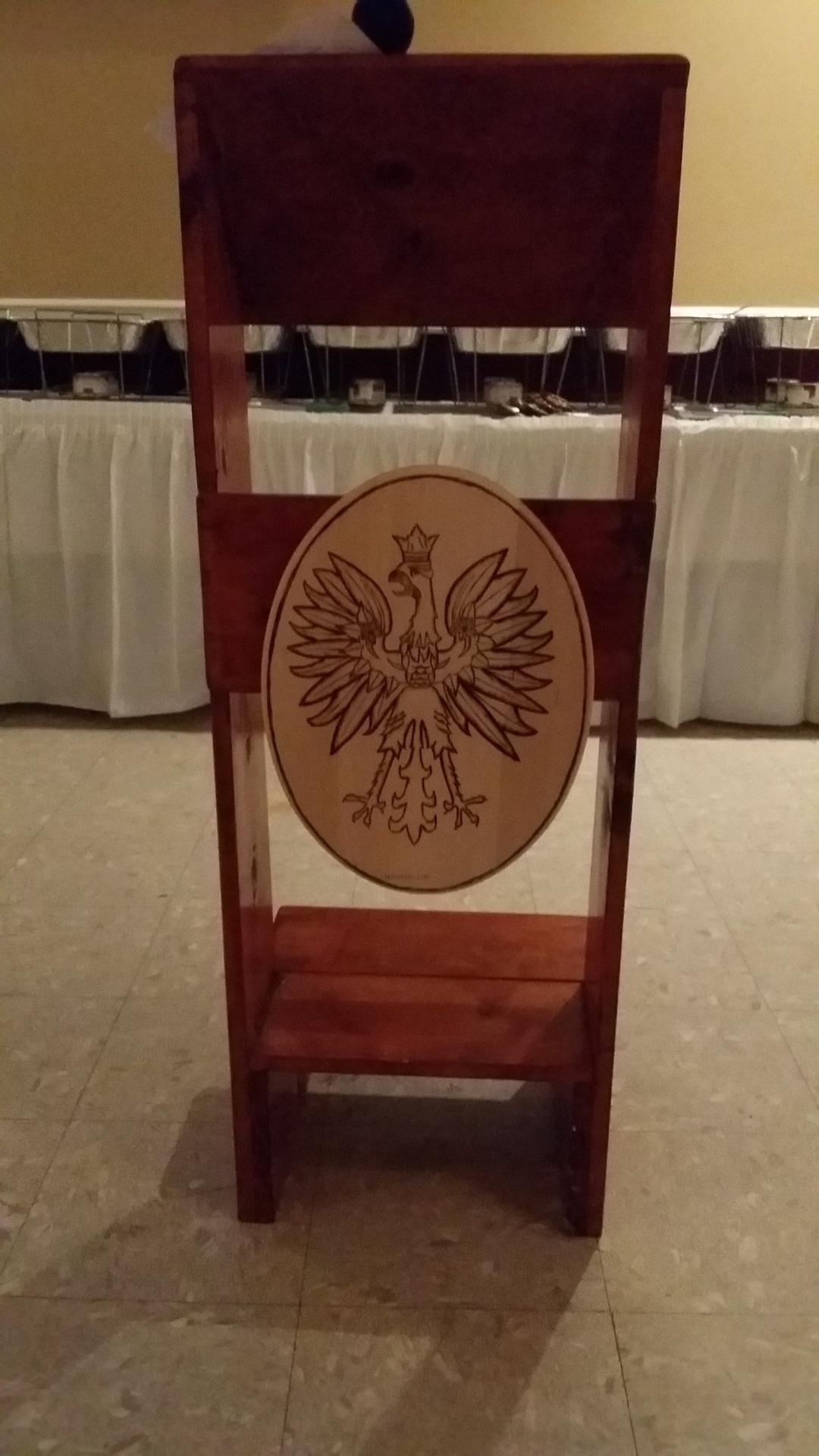 Podium with Wood burn Polish Eagle